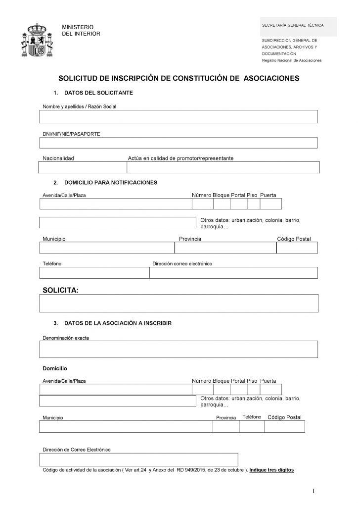 modelo de solicitud de inscripción de asociaciones